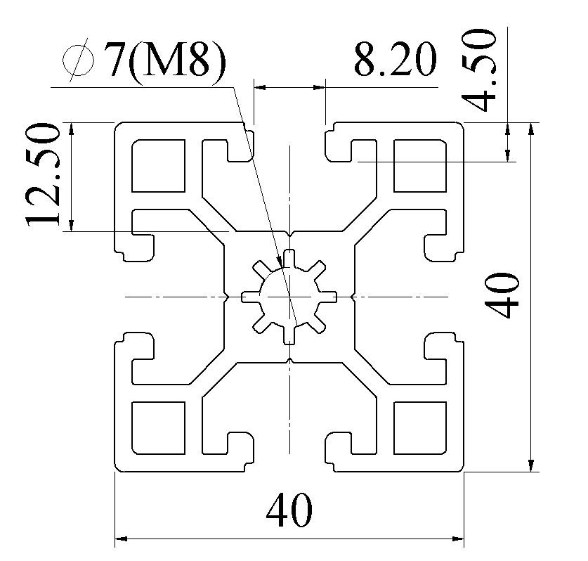 Nhôm định hình 40x40 ATV8-4040-01